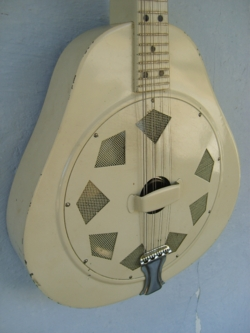 White Triolian Mandolin Front and side
